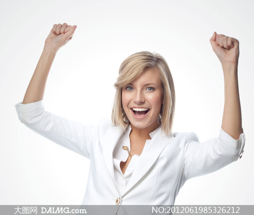 做欢乐庆祝表情手势的美女高清图片 大图网设