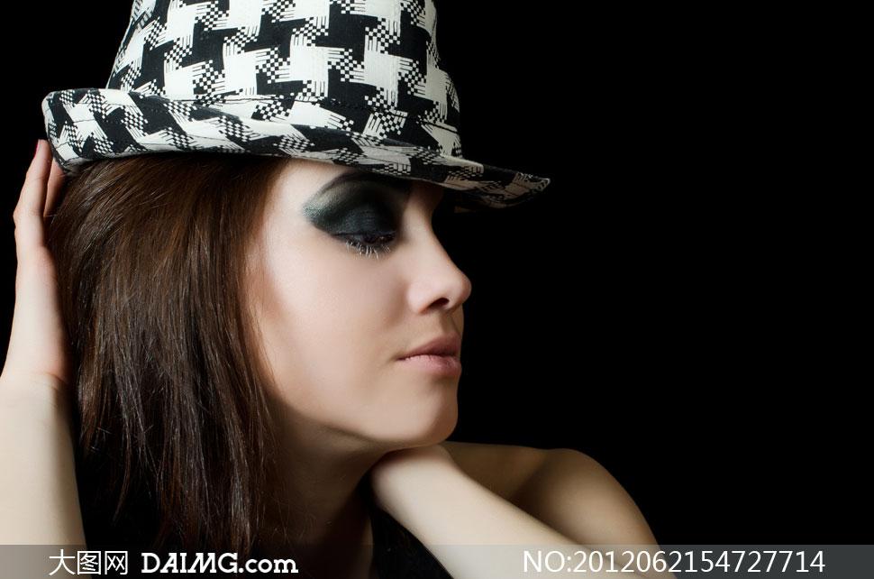浓重烟熏妆美女侧面摄影高清图片 大图网设计