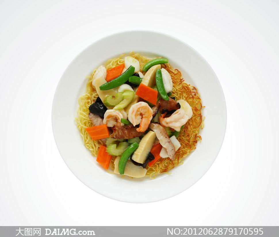 平底锅海鲜炒面美食摄影高清图片 - 大图网设计素材