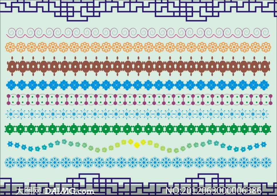 铜钱对称线面组合重复边框花纹花边底纹边框矢量素材