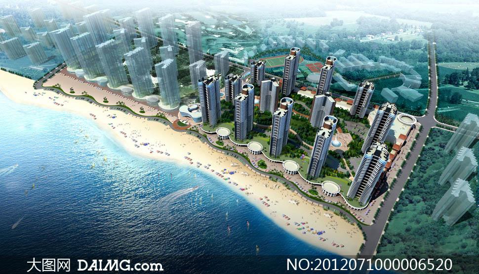 关键词: 房地产地产小区度假海景大海海边沙滩岛屿碧海蓝天白云景观图