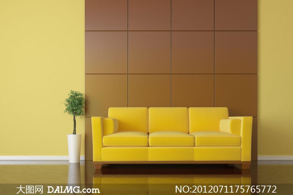 黄色沙发与室内植物摄影高清图片