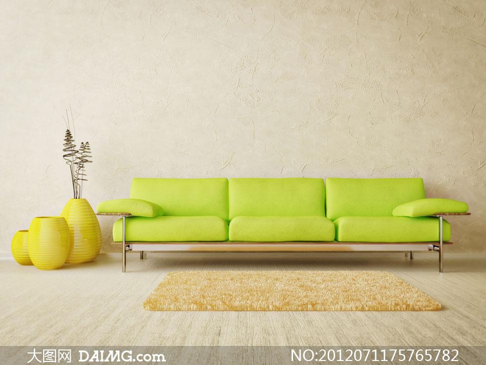 黄绿色沙发椅等家具摄影高清图片