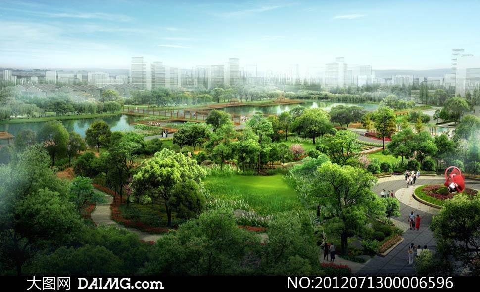 园林设计景观设计环境设计公园设计别墅外景池塘