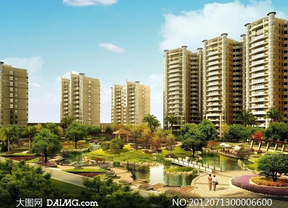 房地产楼盘园林景观设计效果图图片