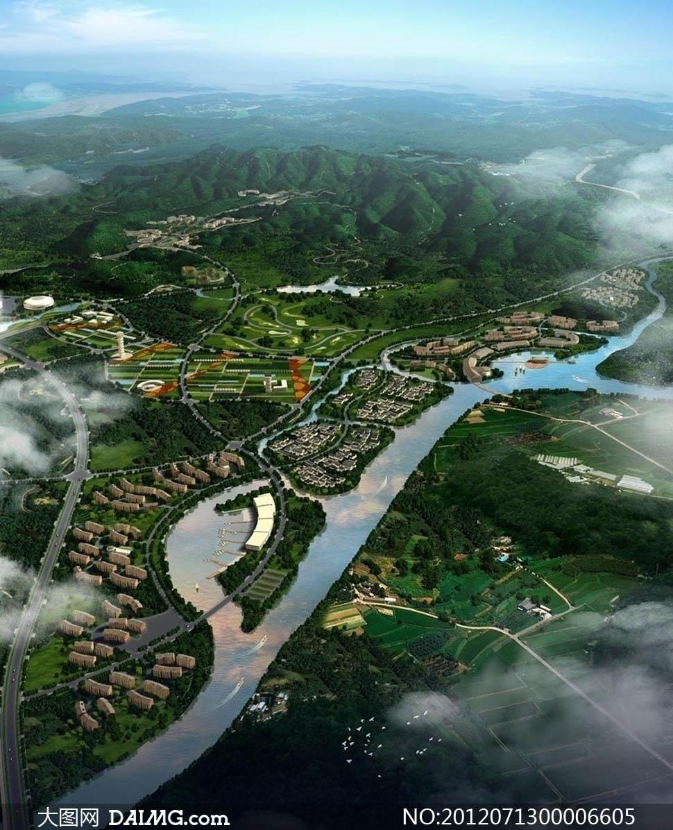 城市规划鸟瞰景观图设计psd分层素材