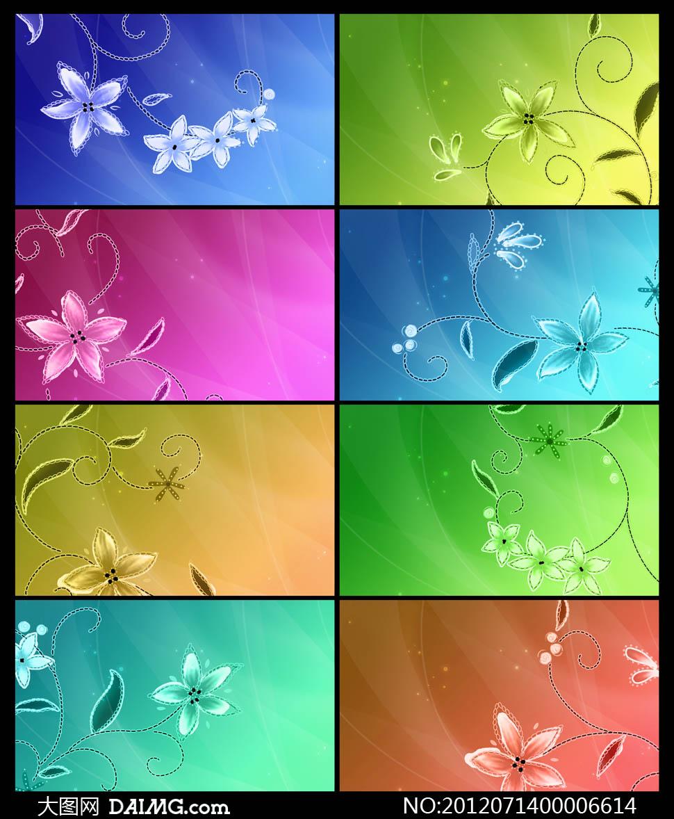 唯美梦幻花朵名片背景psd分层素材下载 关键词: 唯美背景花纹花边底纹