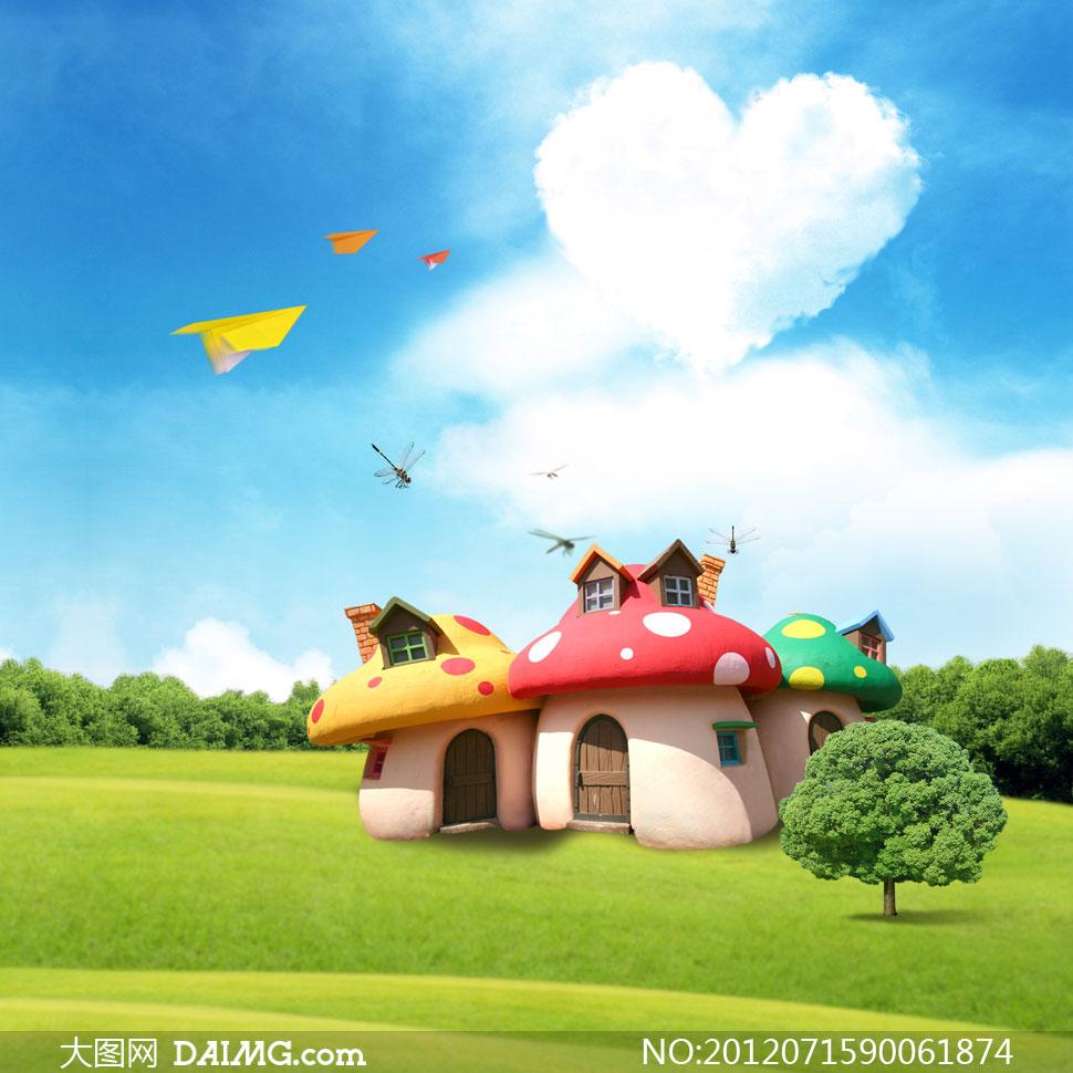背景草原上的蘑菇屋卡通蓝天白云云层云彩心形云朵纸飞机蜻蜓房屋房子