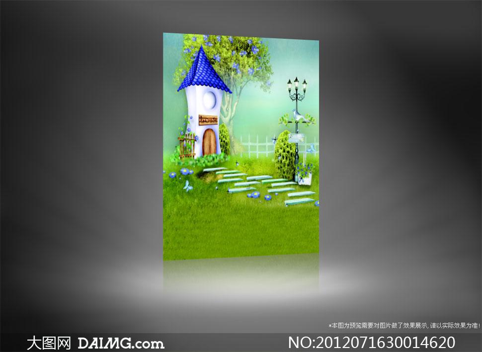 路灯街灯小鸟篱笆栏杆护栏小花鲜花花朵花卉石板草地绿地草坪木牌木门