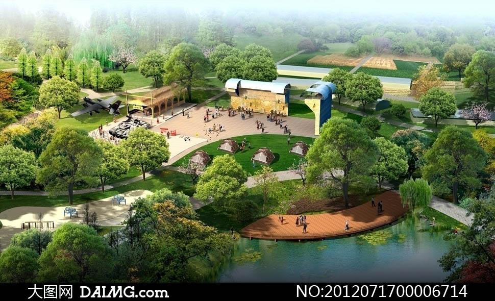 小岛广场散步园林规划公园规划景观图效果图后期设计3d效果图psd分层