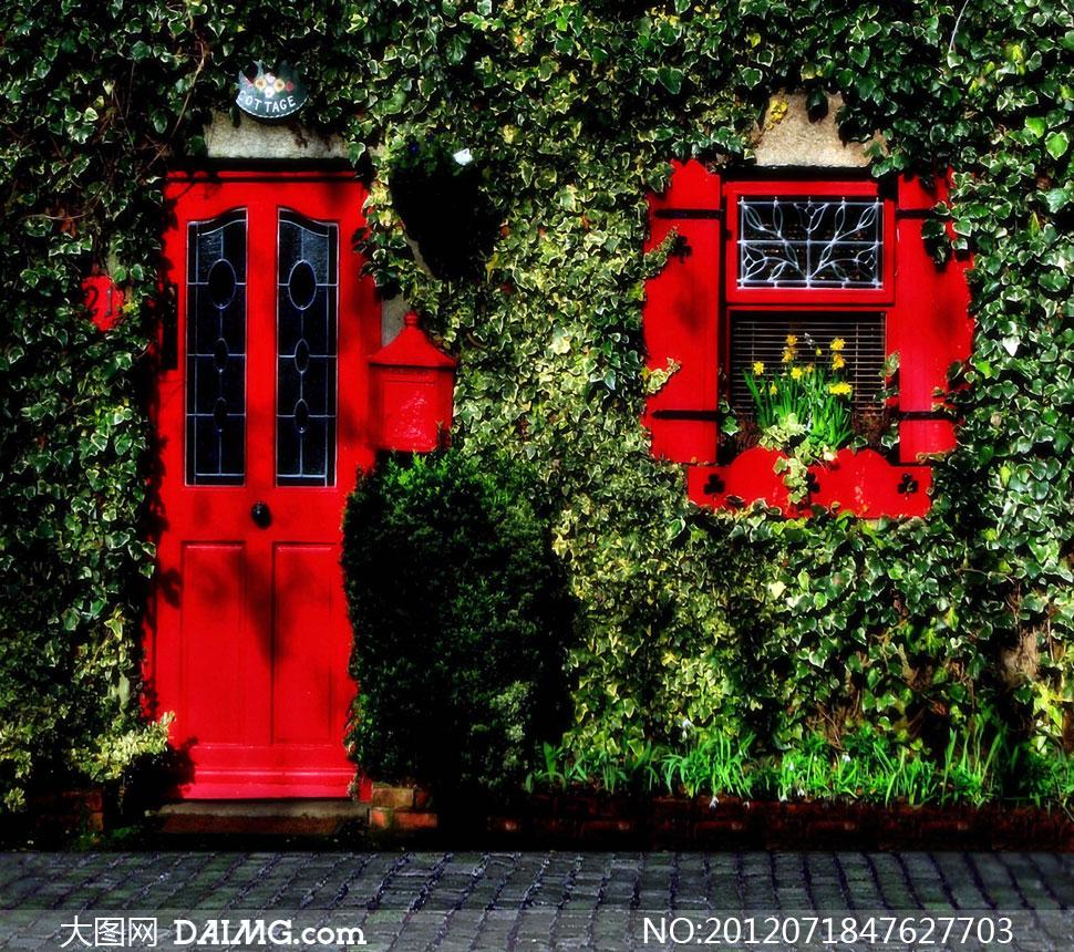 红色门窗与铺石路影楼摄影背景图片