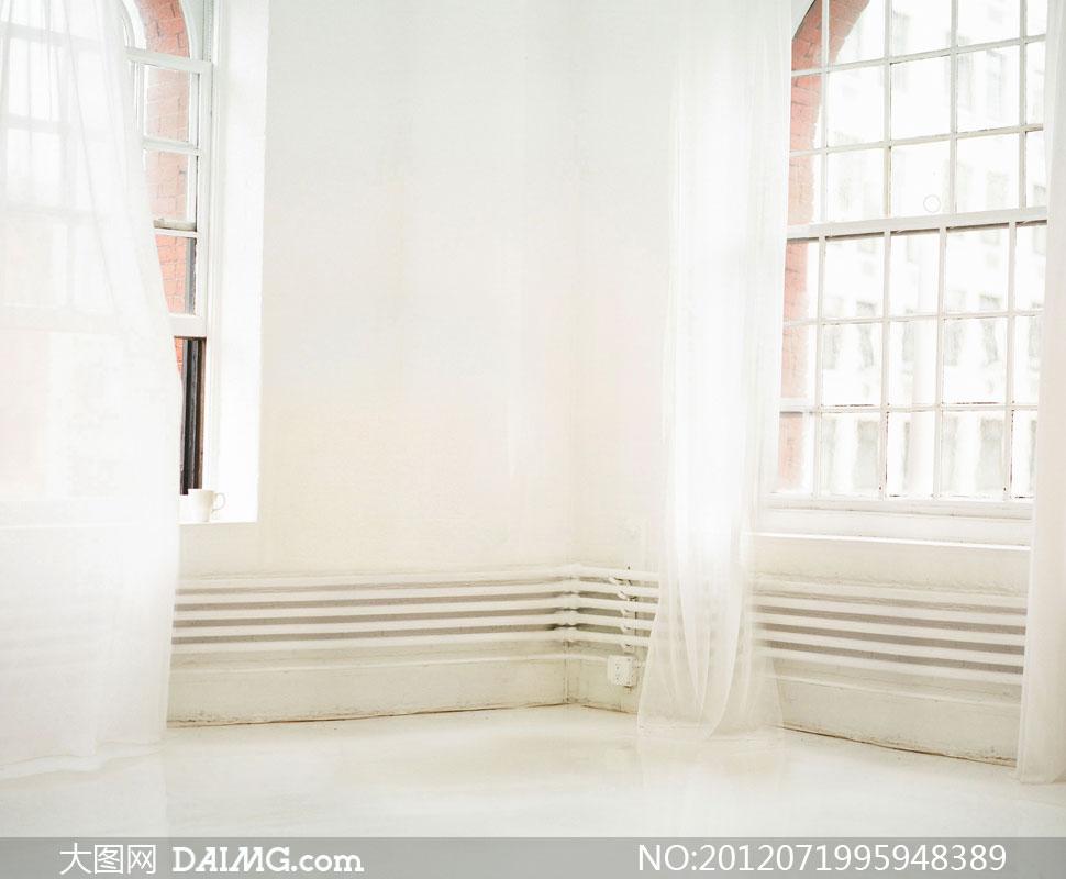 窗纱窗纱 白色 厚窗纱 白色 绣花图片