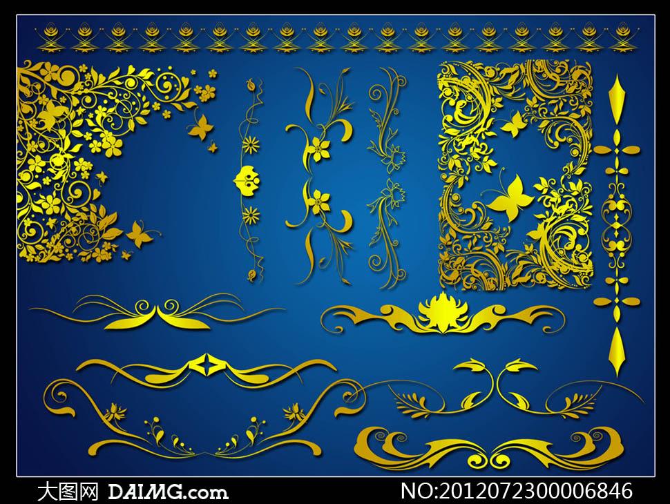 花藤藤蔓藤条装饰对称蝴蝶欧式古典设计元素psd分层
