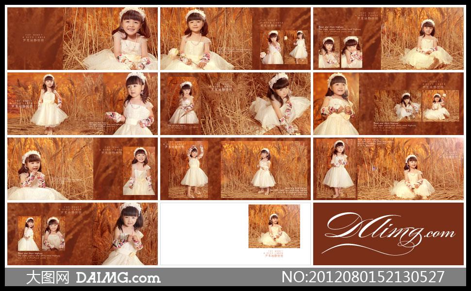 设计儿童写真小女孩可爱棕色花朵项链齐刘海儿芦苇丛白色裙子连衣裙