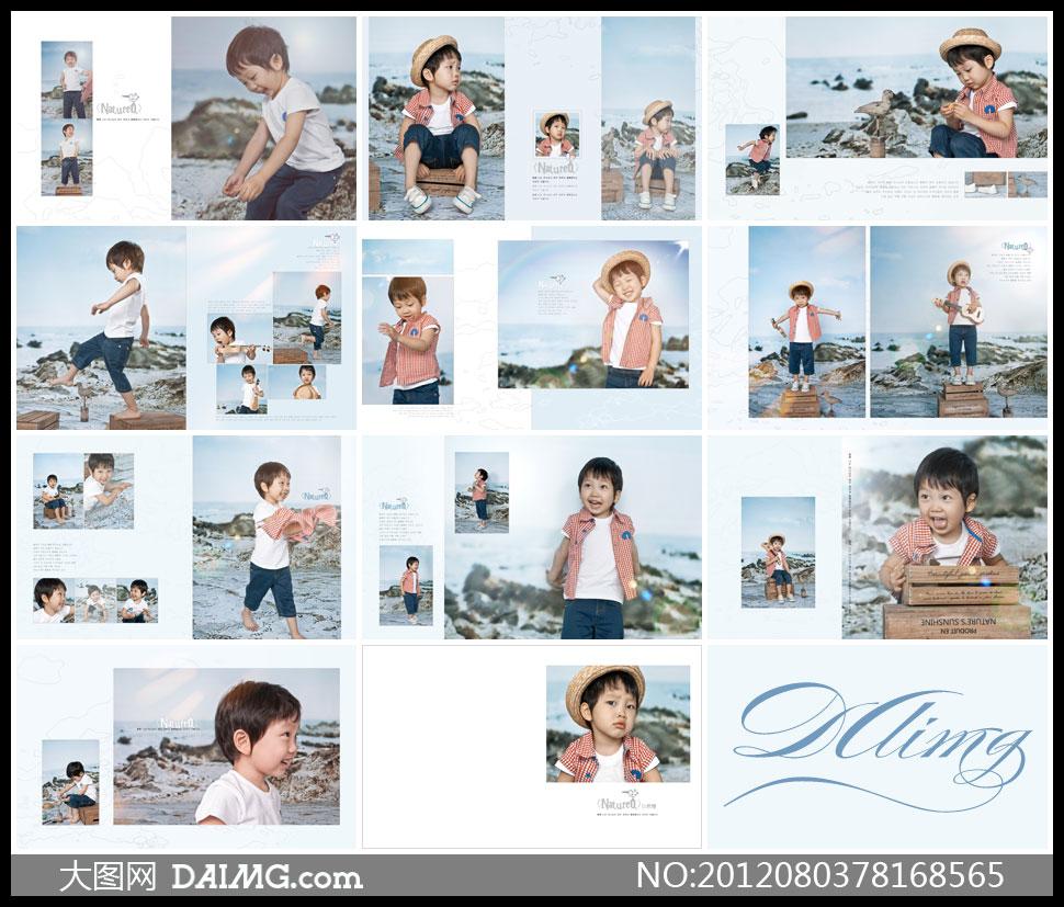 儿童照摄影样册设计相册设计版式设计版面设计儿童写真小男孩草帽帽子