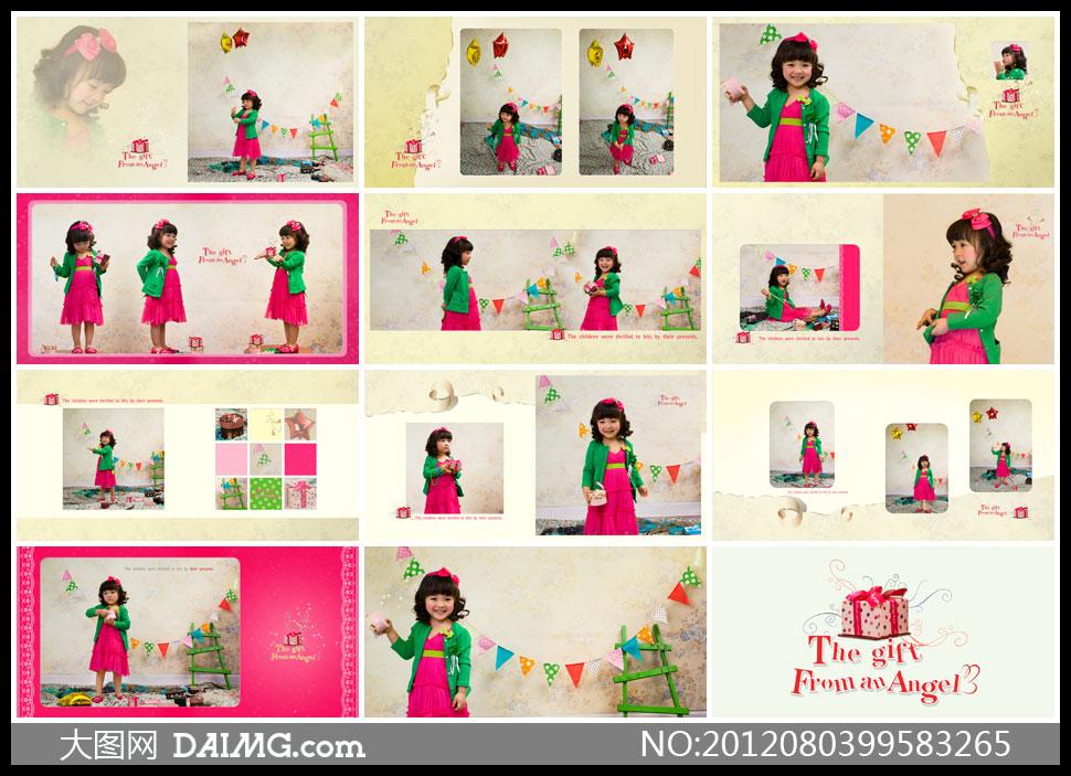 儿童写真小女孩小萝莉开心笑容三角旗梯子绿色红色蝴蝶结齐刘海儿绿色