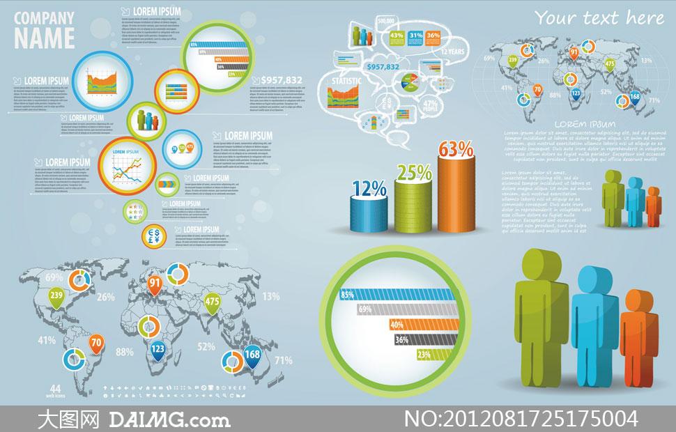 立体地图与地图标记矢量素材