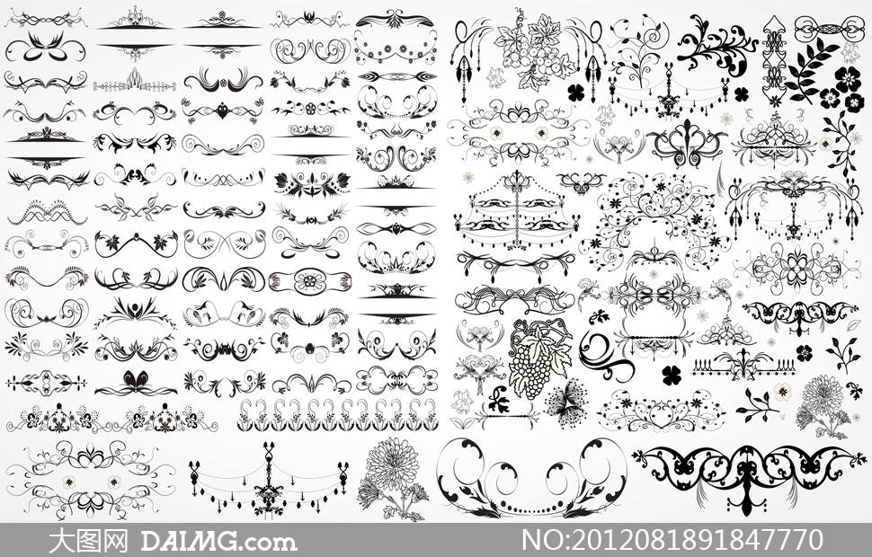 黑白装饰花纹与分割线矢量素材 大图网设计素
