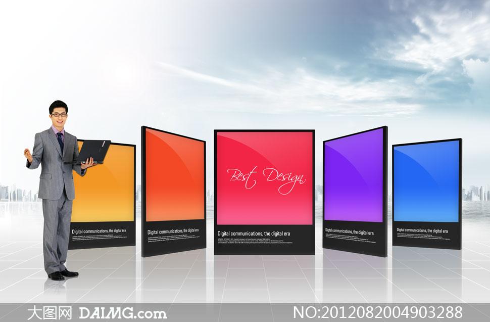 炫彩展示板与商务人物psd分层素材