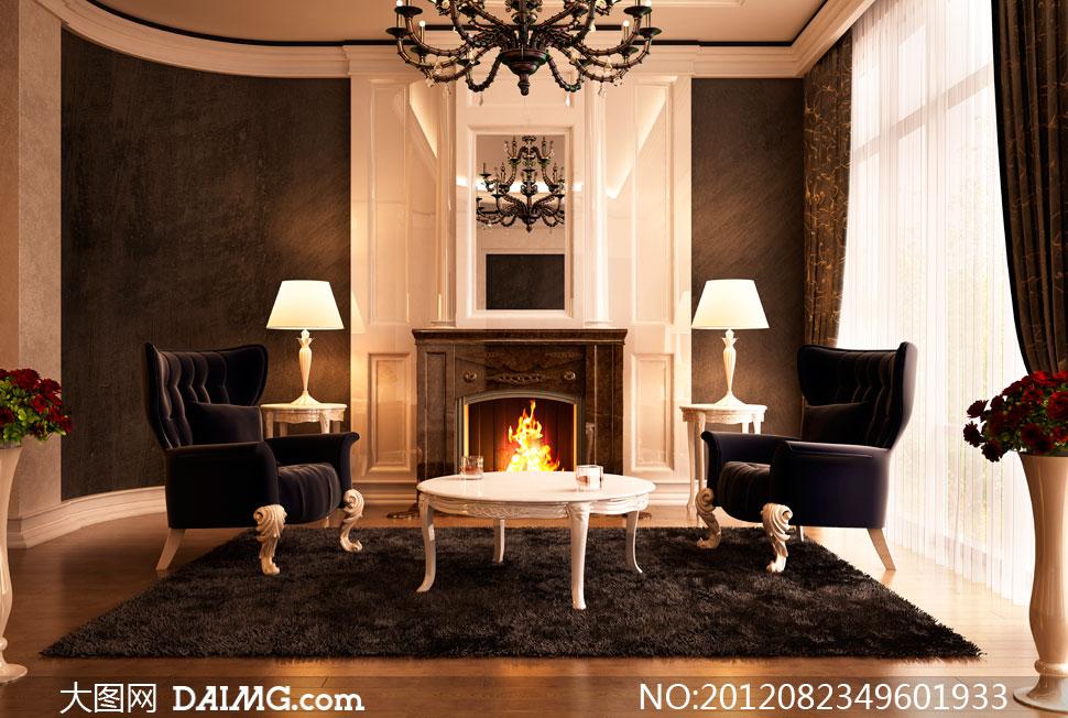 欧式风格会客厅内景摄影高清图片
