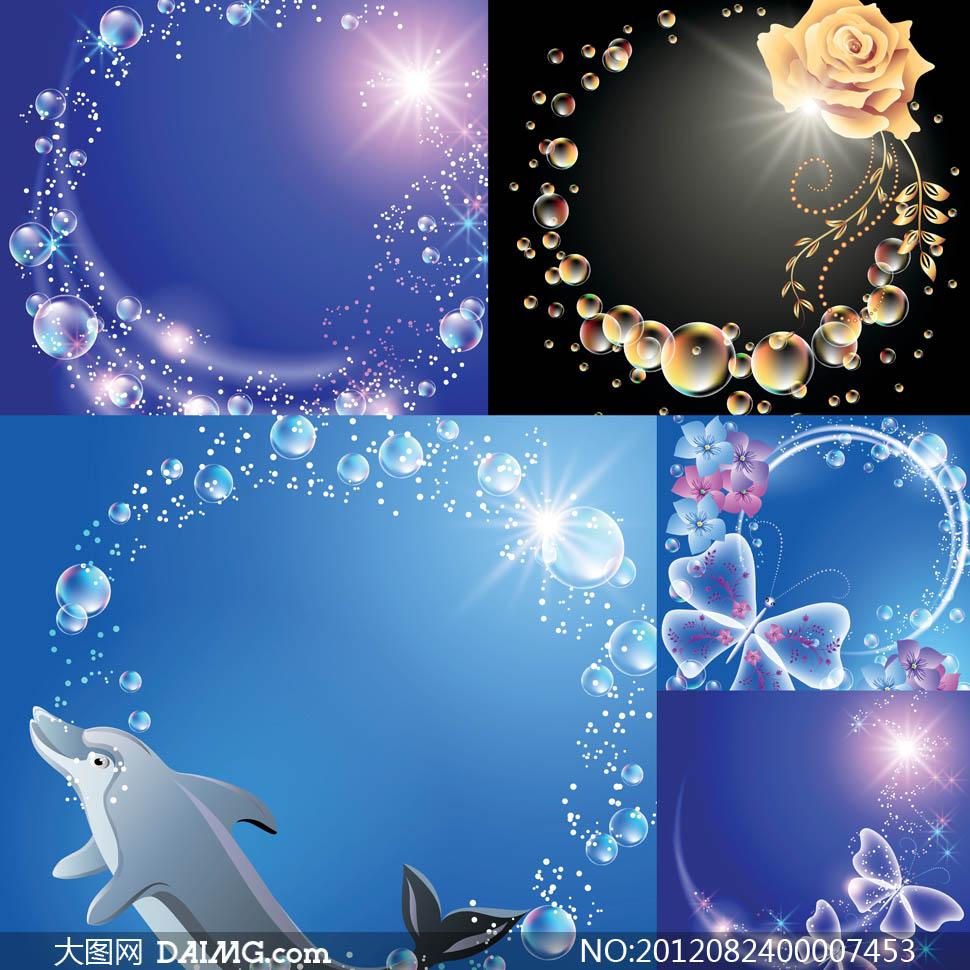 梦幻透明泡泡边框设计矢量素材