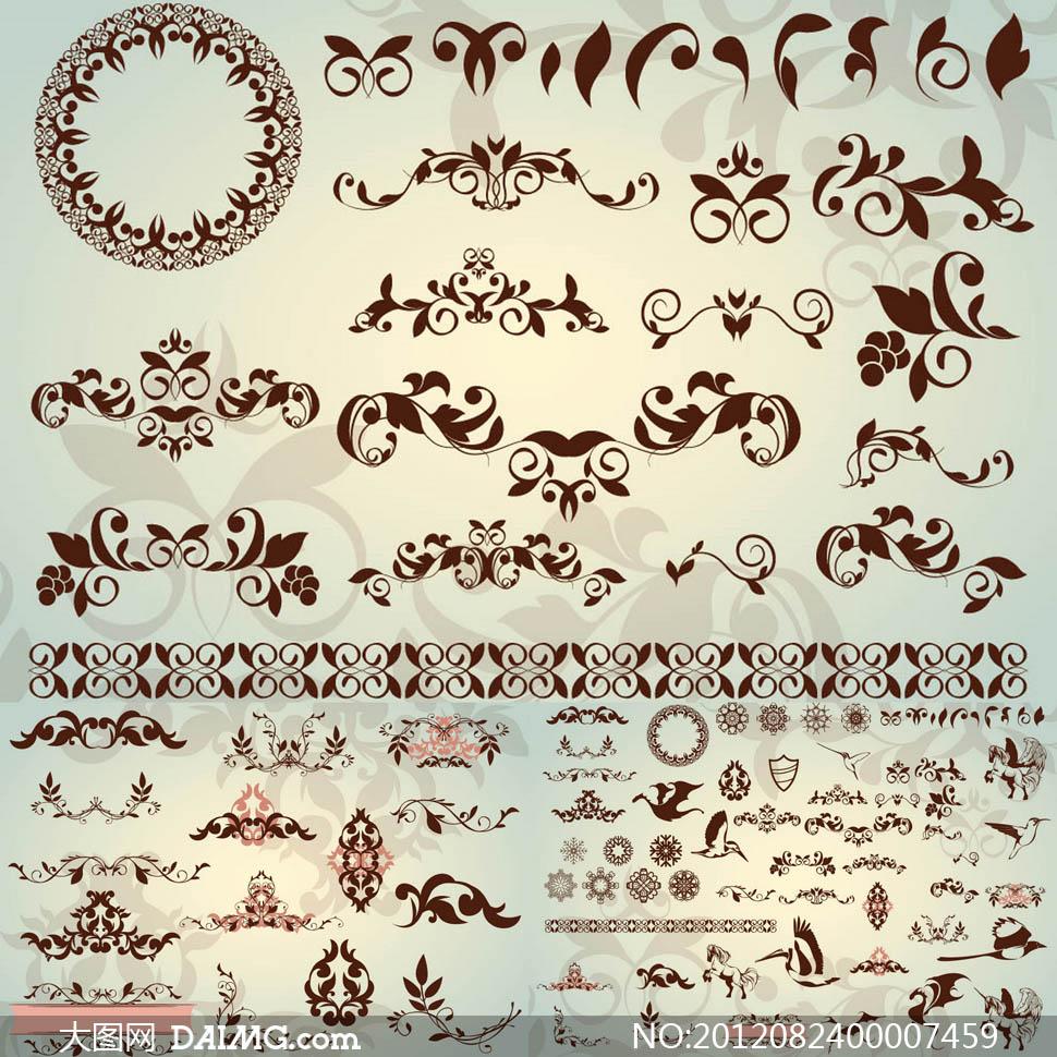 素材下载 关键词: 欧式精美精致花纹对称花环花边