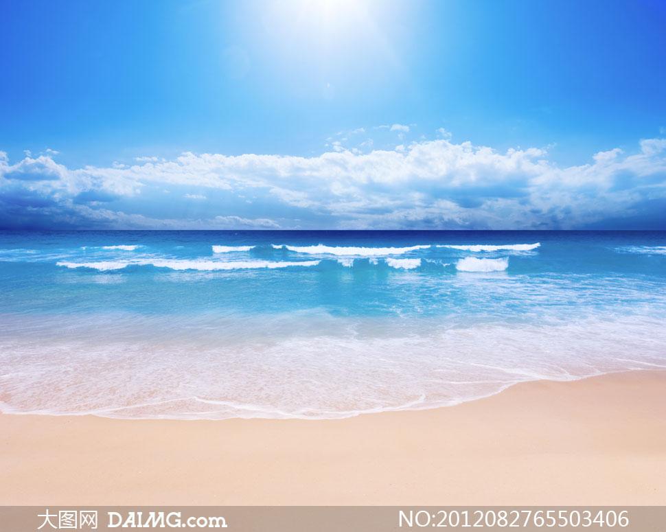蓝天白云大海潮水影楼摄影背景图片