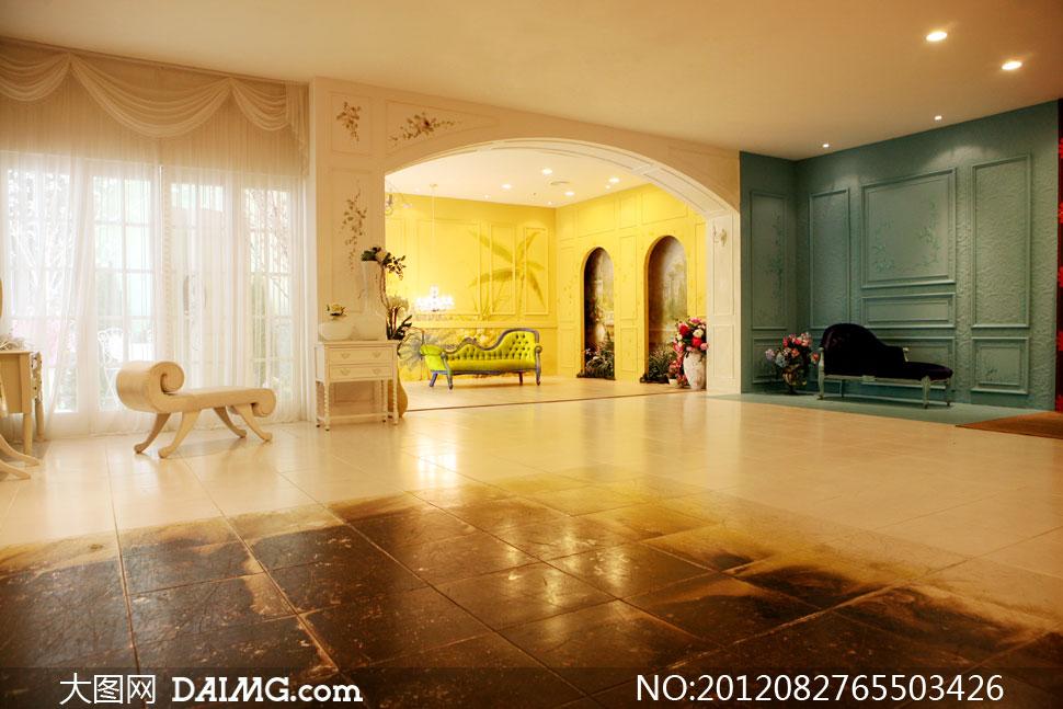 宽敞的欧式大房间影楼摄影背景图片图片
