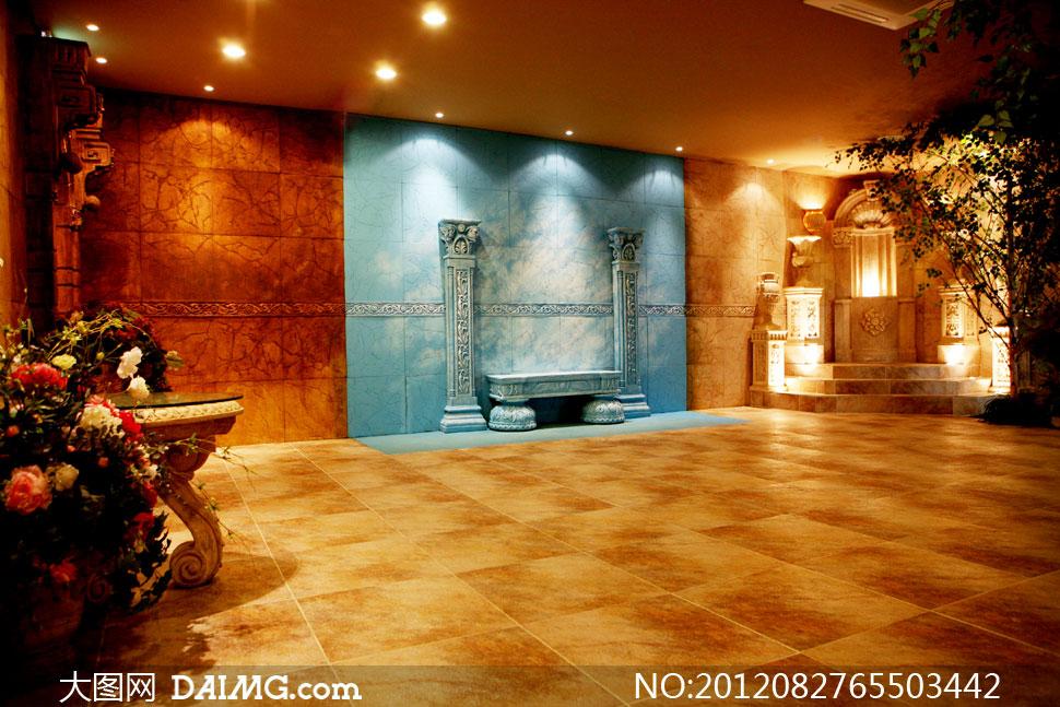 素材信息  欧式古典室内场景影楼摄影背景图片
