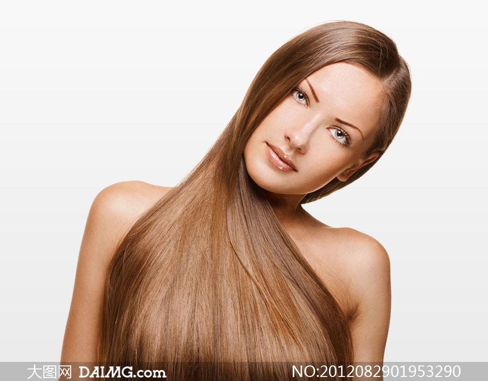 歪着头的秀发美女人物摄影高清图片 大图网设