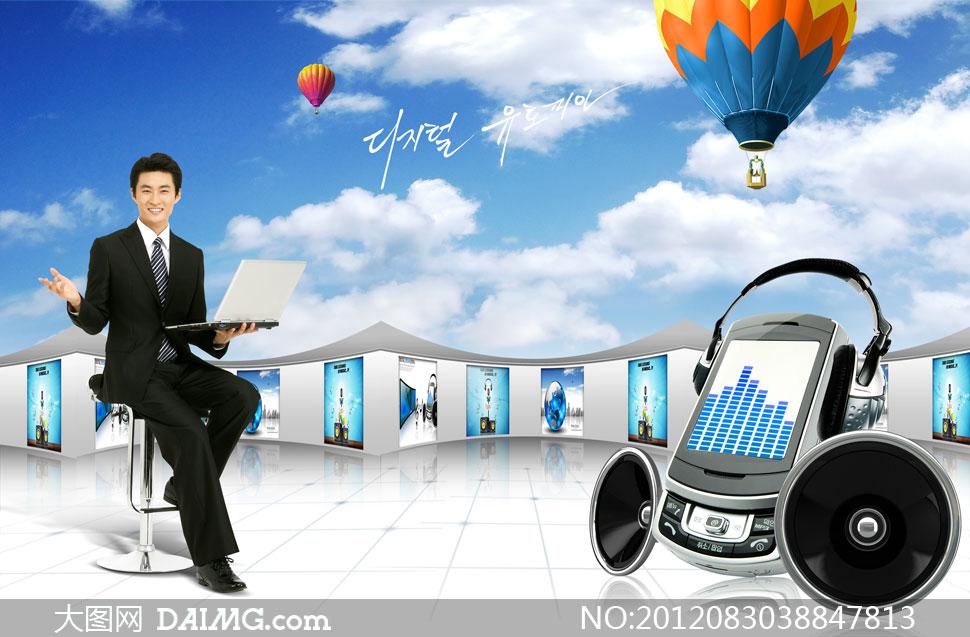 蓝天白云热气球与人物psd分层素材