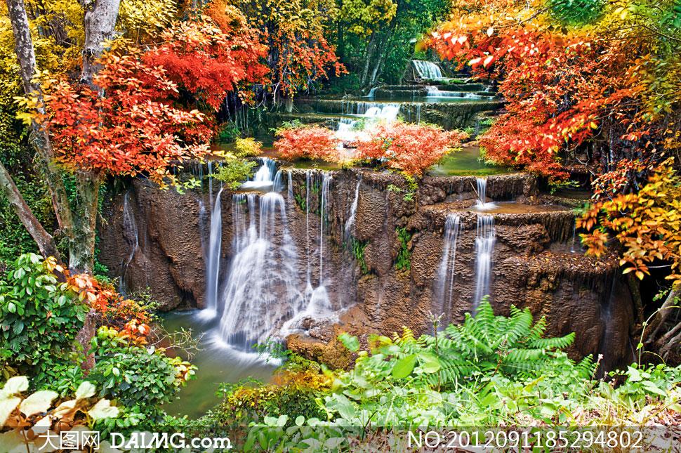 溪流瀑布秋天梦幻美景摄影高清图片 大图网设