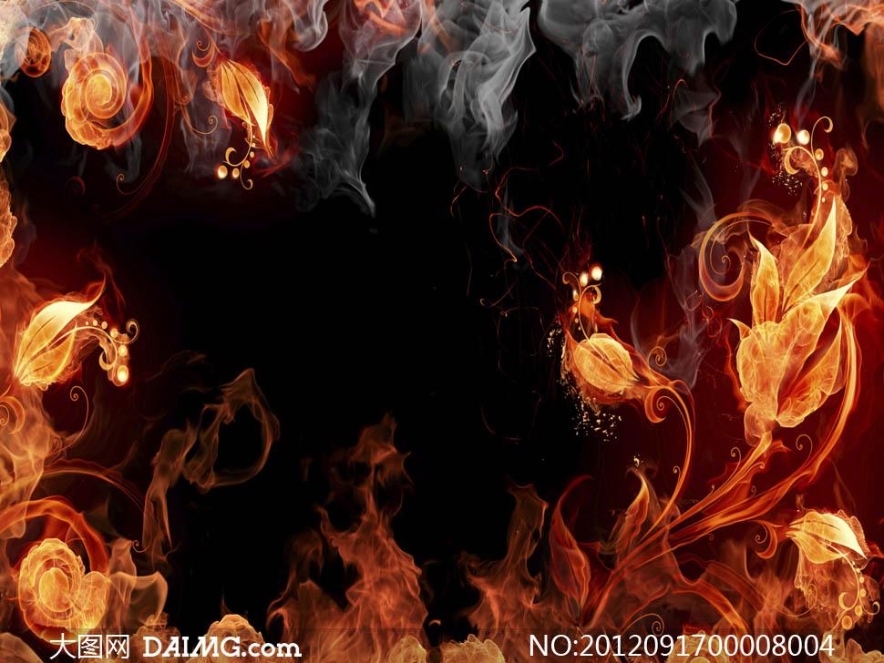 火焰花朵和火焰花纹设计图片
