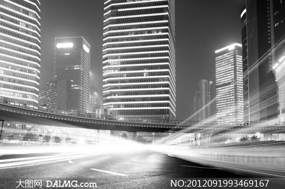 城市公路道路马路街道夜景街景灯光动感光线线条曲线高楼大厦大楼楼房