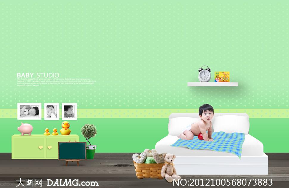 室内摆设与床上小宝宝psd分层素材