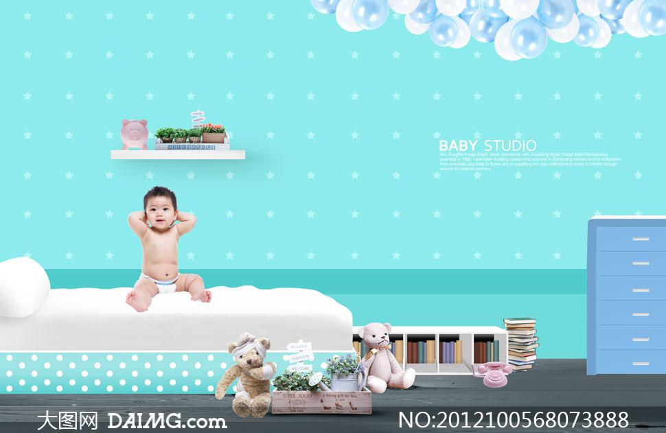室内摆设与床上的宝宝psd分层素材