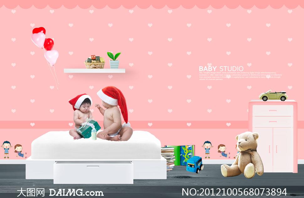戴圣诞帽的可爱小宝宝psd分层素材
