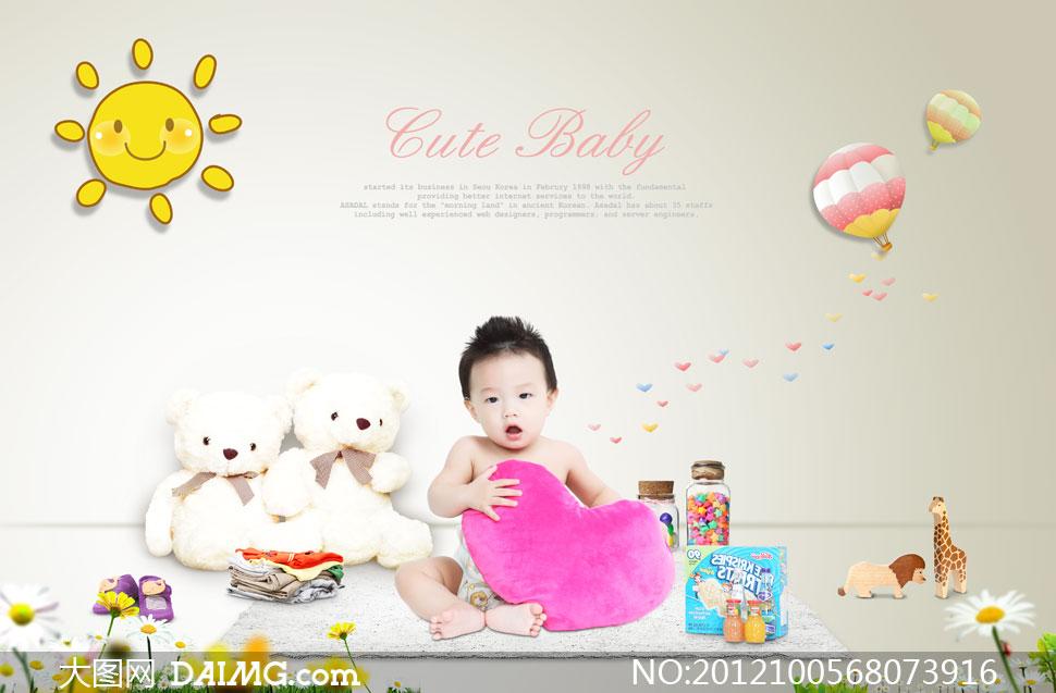 可爱幼儿太阳卡通热气球心形男宝宝小熊玩具鞋子衣服