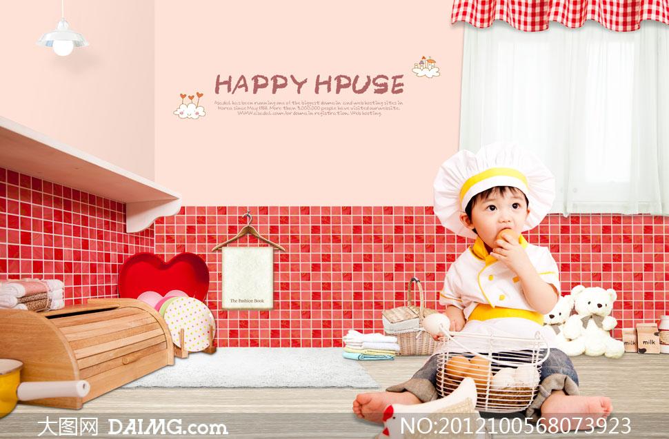 厨师装扮的可爱小宝贝psd分层素材