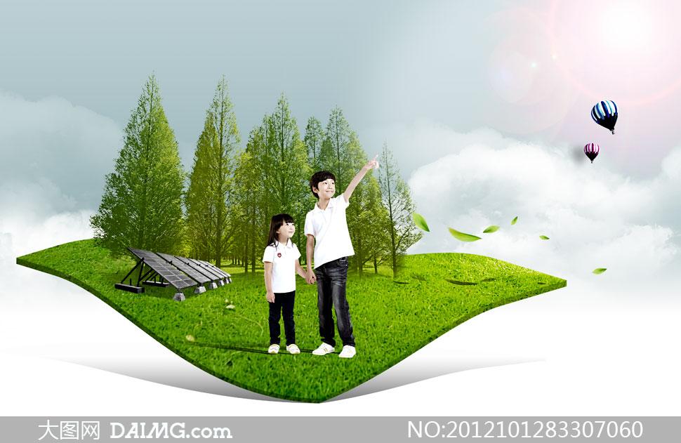 落叶树叶叶子绿叶太阳能板树木大树树林投影阴影手牵手手拉去手势指