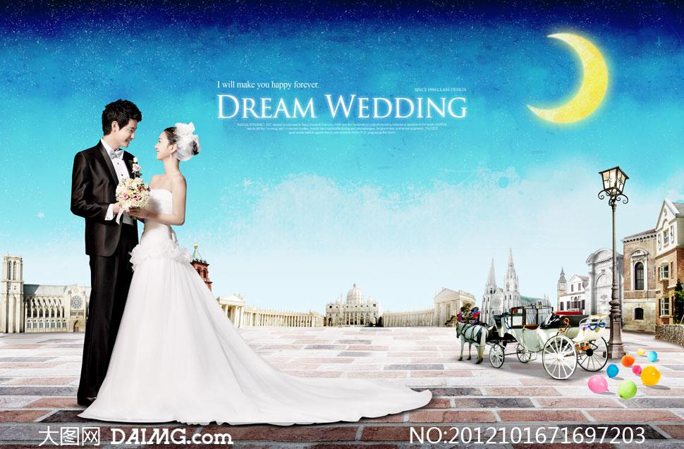 韩风路灯街灯月亮月牙梦幻星空夜空蓝色花束马车欧式气球铺砖地面建筑