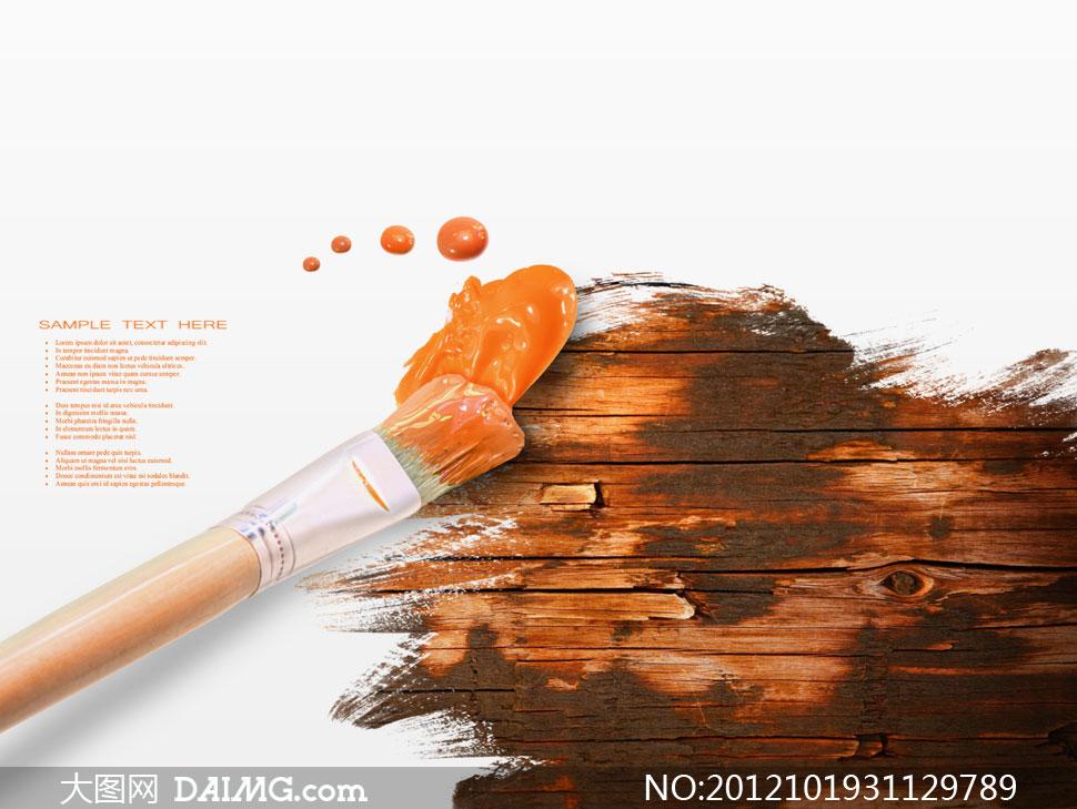 美术画笔与颜料木板摄影高清图片