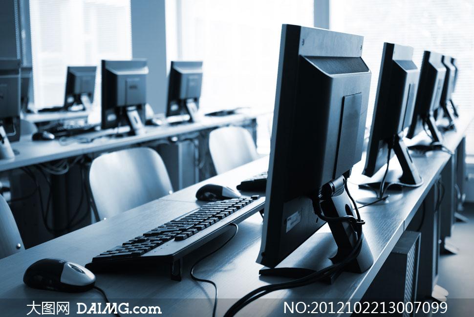 计算机网络机房内景摄影高清图片 - 大图网设计素材
