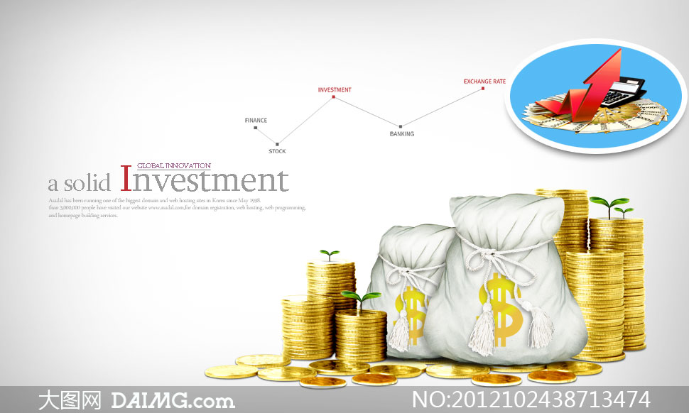 金灿灿的钱币与钱袋子psd分层素材 - 大图网设