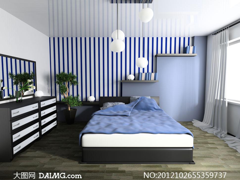卧室床铺家具摆设渲染效果高清图片