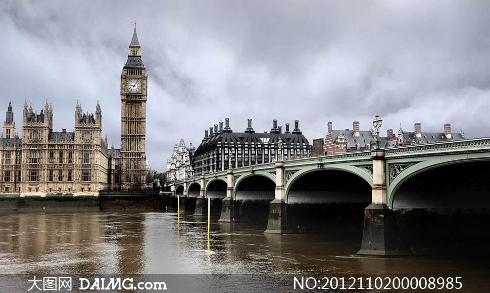 伦敦风景国外建筑钟楼英国风景名胜古迹外国风景旅游