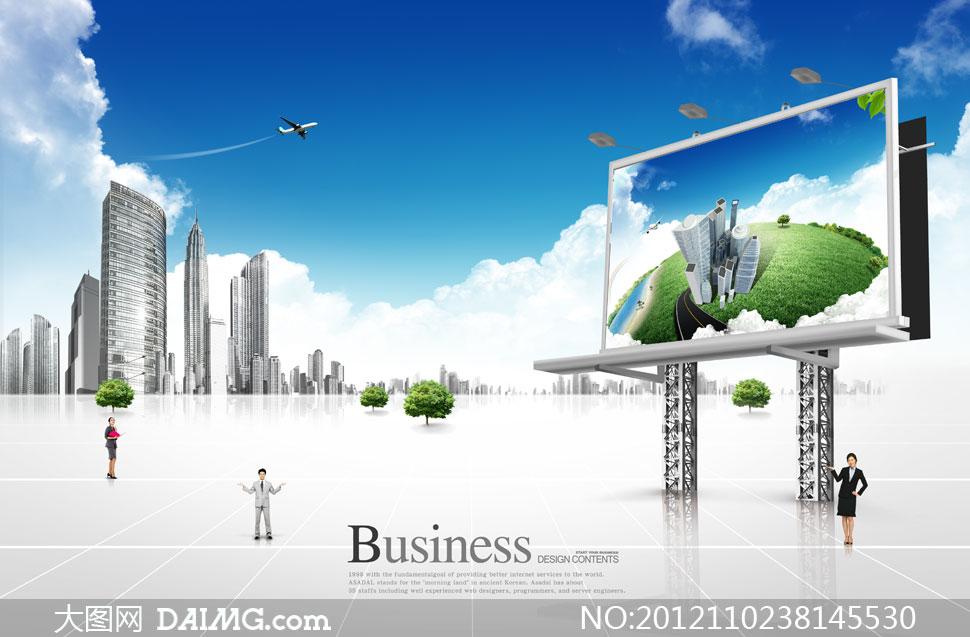 户外广告牌建筑与人物psd分层素材