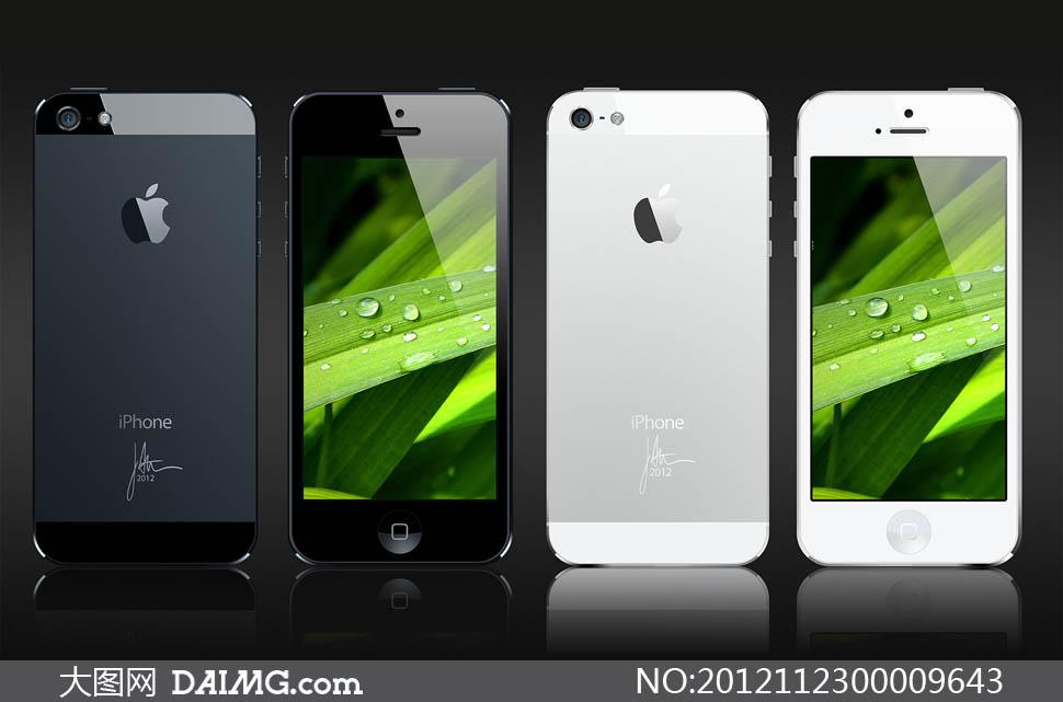 iphone5黑白正反面手机ui设计psd素材