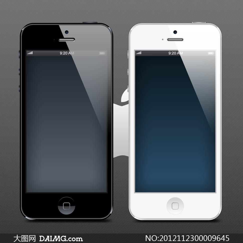 正面展示黑色白色手机uiui设计立体感渐变色设计元素psd分层素材源