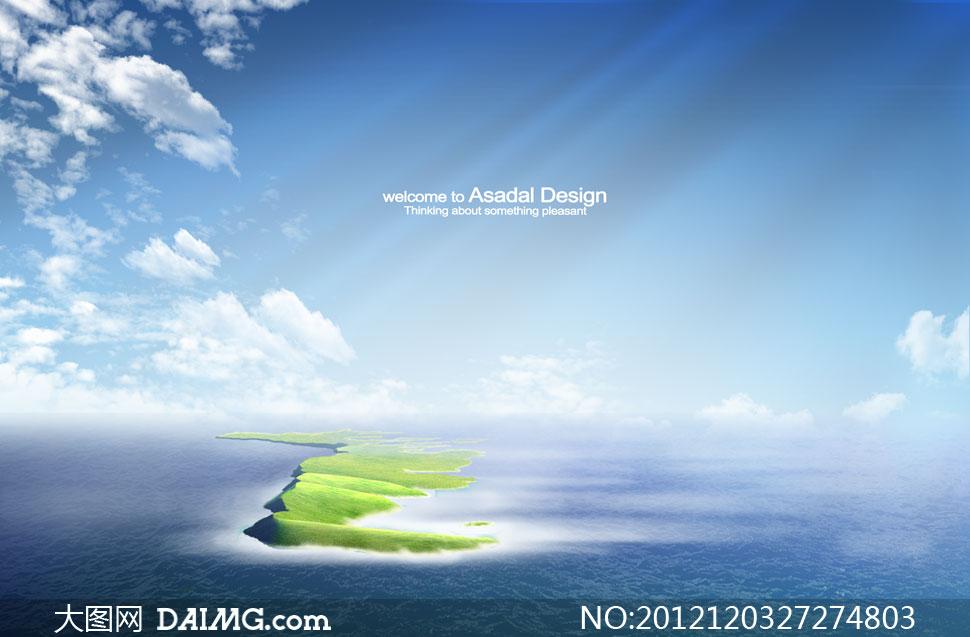 蓝天白云云层云彩多云大海海水海面海景飞机风景自然风光光线小岛岛屿